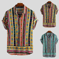 Mens Vintage African Colorful Floral Shirt Casual Shirt Short Sleeve Blouse Tops
