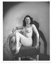 Org Vintage 1940s-50s Large (5.5 x 7) Nude RP- Endowed Brunette Sits in Chair