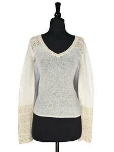 Guess Jeans Cream Metallic Long Sleeve Crochet V-Neck Knit Sweater Size M