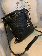 Super Rare Chanel Camilla Embossed Leather Across Body Chain Bag Messenger Black