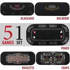 Poker Black Jack Craps Roulette Baccarat Table Top Felt 5 Casino Games New Poker