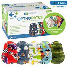 Kids Adhesive Eye Patches Fun Boys Design 90 + 10 Bandages Reward Chart