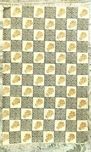 100% Cotton Black And White Block Print Floor Area Rug Size 4'X6'