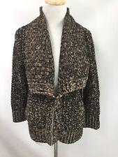 Brochu Walker Cardigan Sweater Brown Tan Wool Chunky Knit Open Front Sz S
