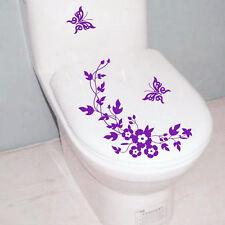 Blumen-WC-Sitz-Hall-Aufkleber-Badezimmer-Abziehbilder Dekor-Schmetterling  ST