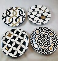 Pai Set of 4 Dessert Plates NIB Black w/ 24 Kt Gold Highlights Hand Wash Only