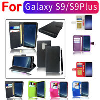 Case Cover Fit For Samsung Galaxy S9 S9+Magnetic Flip Leather Wallet Card Holder