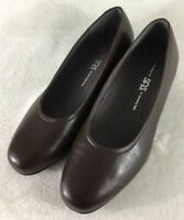 SAS Regina Women's Brown Leather Heels Pump Slip On Shoes Made in Italy Sz 7.5WW