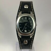 Fossil Womens ES9729 Black Leather Wide Band Date Indicator Quartz Analog Watch