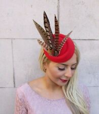 Red Brown Pheasant Feather Pillbox Hat Hair Fascinator Races Clip Vintage 4171