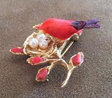 Vintage Swaboda REAL Coral Pearl Red Bird Brooch! Sweet and Pristine!!