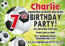 FOOTBALL -F3 - Personalised Party Invitations or Thank You Notes x10