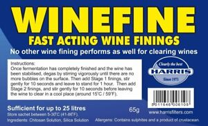 Winefine - Fast Acting Wine Finings - Treats up to 25 Litres - Harris