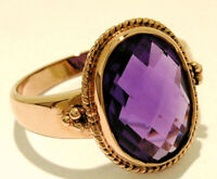 R277 Genuine 9K Solid Yellow,Rose or White Gold Large Natural Oval AMETHYST Ring