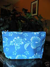 Small Canvas Tote Cosmetic Make up Bag Blue & White Hibiscus Flower Tropical