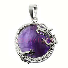 Silvery Dragon Wrap Natural Amethyst Bead Pendulum Pendant Charm Fit Necklace