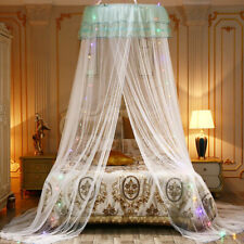 Mosquito Net LED Light Princess Girl Canopy Bed Lace Mesh Hanging Netting Decor