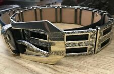 Code Azure Unisex Black Leather Belt Decor Silver Buckles 40 230 Western Italy