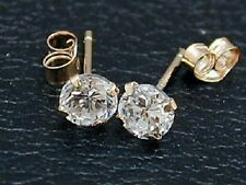 14K YELLOW GOLD ROUND 1.00ct STUD CUBIC ZIRCONIA STUD EARRINGS $119.00 RETAIL