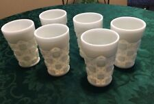 "Set Of 6 Westmoreland ""Old Quilt"" Milk glass Tumblers"