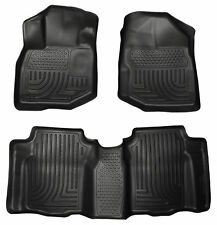 2009-2013 Honda Fit Black Husky Liners WeatherBeater 1st & 2nd Row Floor Mat Set