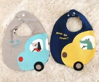 2pcs Baby Bibs Reversible Cotton Bandana Feeding Kids Toddler Boy Animal 29×20cm