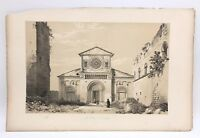 San Pietro Tuscania Lazio Church 1843 G. Moore Lithograph Architecture of Italy