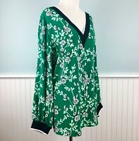 SIZE 3X Alfani Green Floral Long Sleeve V Neck Top Blouse Shirt Women's Plus NWT