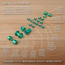 Benchmade 535 BUGOUT 21pc GREEN Titanium Screw Set, Pivot, Standoff, Pin, T Stud