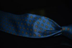Vintage Brooks Brothers Made in USA INTENSE Ocean Blue Madder Paisley Silk Tie