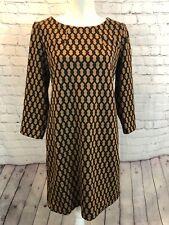 "VIVIENNE TAM Brown/Tan Print STRETCHY DRESS - 38""B Size 10"