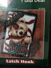 "J&P Coats Christmas Latch Hook Rug Kit Plaid Bear 27"" x 40"" New in Box 90s 25519"