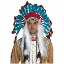 Smiffys Mens Authentic Western Indian Headdress Halloween Costume Accessory NEW