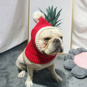 Winter Warm Hat Adorable Pet Woolen Hat Christmas Headdress for Dog Puppy (Red,