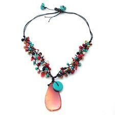 Orange Agate Teardrop Multistone Accented Necklace