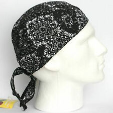 Cotton Fitted Bandana Headscarf Scarf Black White Paisley Square One Size Easy