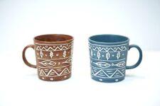(2) VTG  Pottery Barn Coffee Tea Mugs Aztec/Aboriginal Raised JAPAN blue brown