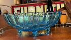 Large Vintage Blue Carnival Glass Oval Shaped Fruit Bowl Grape Cherry Motif