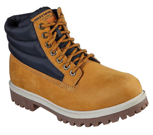 Skechers Men's Relaxed Fit Sergeants Verdict - Verno Ankle Work Boot, Wheat/Navy