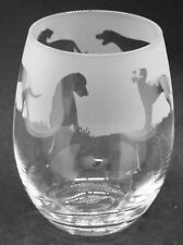 More details for hungarian vizsla frieze boxed 36cl crystal stemless wine / water glass