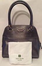 Kate Spade Wellesley Maeda Metallic Silver/Pewter Gray Leather Shoulder Bag Tote