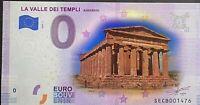 BILLET 0  EURO LA VALLEE DEL TEMPLI  ITALIE COULEUR  2020 NUMERO DIVERS