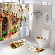 Streetscape Bathroom Rug Set Shower Curtain Thick Soft Toilet Lid Cover Bath Mat