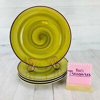 Thomson Pottery AMAZON Green Swirl Brown Edge Stoneware Dinner Plates Set Four