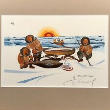 """"""" Seal Hunting Alaska """" 1981 Art Print by Huong SIGNED matted & framed"""