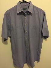 Land's End Mens Short Sleeve Button Up Blue Shirt Medium 15-15.5