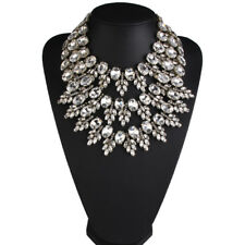 Women Multilayer Crystal Pendant  Choker Chunky Statement Chain Necklace Gifts