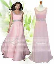Long Chiffon Bridesmaid Formal Gown Ball Evening Prom Party Dress Size 8 -24 Baby Pink 16
