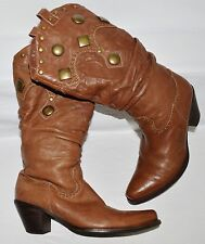 BELLE  6 M 230 BROWN LEATHER BRASS STUDS WESTERN COWBOY BOOTS BOOTIES