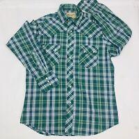 Wrangler Womens Western Pearl Snap Shirt Size Medium Plaid Long Sleeve